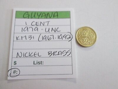 Single coin from GUYANA, 1 cent, 1979 UNC, KM 31 (1967-1992)