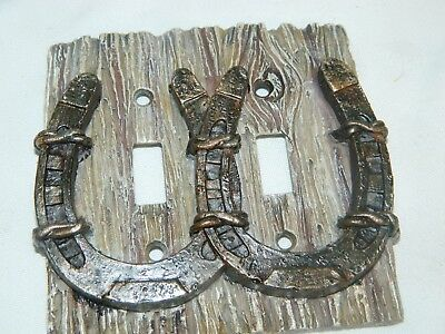 3D Western Double Horse Shoe Electric Light Switch Wall Plate Cover~New