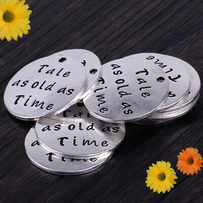 "10pcs 1"" Tale as old as Time Charm Message Round Pendant Craft Jewelry Findings"