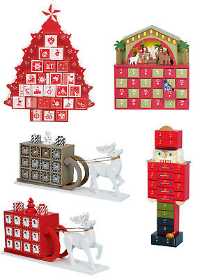 NEW Wooden Advent Calendar Traditional Christmas Calender Decoration Vintage