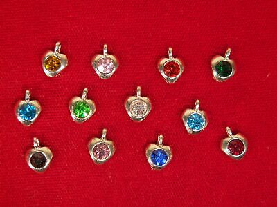 """12pc set """"birthstones"""" heart charms in antique silver style (BC1341)"""