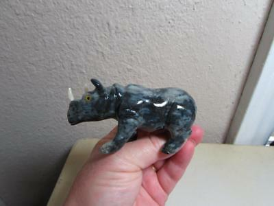 Rhino, Hand carved Stone from the Andes. Multi Colored Stone Rhinoceros, Unique