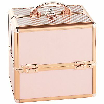 "Beautify Pink Rose Gold 10"" Train Case Cosmetic Makeup Organizer Storage Box"