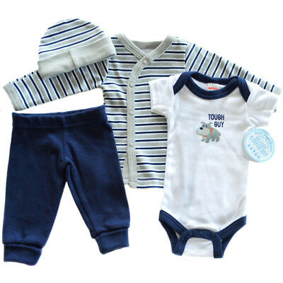 Premature Preemie Prem Baby Clothes Set Boys 4 Piece Dog Set 3.5kg 50-55cm