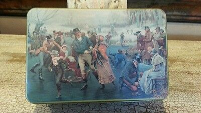 Rectangular Metal Tin with Ice Skaters frolicking signed T.CATHEY BI STAR 1992