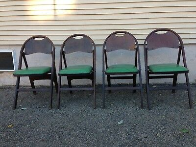 Set of 4 Antique Stakmore NY  Wooden Green Cushion Folding Chairs