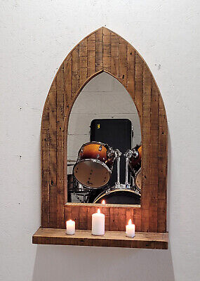Distressed Gothic Arch Wooden Mirror from Reclaimed Pine 98 cm long with Shelf