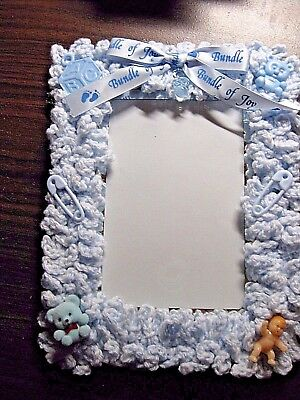 """Baby Blue 4 x 6"""" Croched Baby Photo Picture Frame - Unique"""