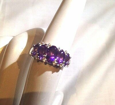 Antique Genuine Amethyst Real Peridot Vintage Stone 925 Sterling Silver Ring