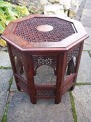 Large Rosewood  Antique Octagonal Folding  Anglo/ Indian  Inlaid Side Table