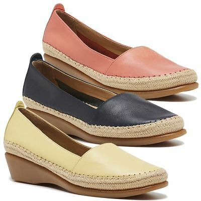 New Hush Puppies Women's Leather Wedge Comfort Loafers Tune Cheap