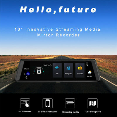 """1080P WiFi 3G Car DVR Rearview Mirror Driving Recorder 10"""" Dash Cam Android 5.0"""