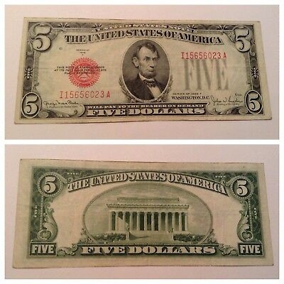 Vintage $5 1928-F United States Note Five Dollars Dollar Bill Lincoln Red Seal