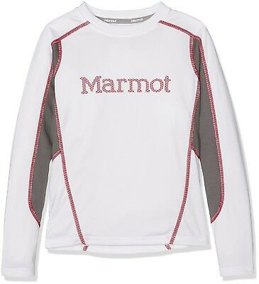 (Small, White/Cinder) - Marmot Windridge with Graphic Ls Longsleeve, Boys',