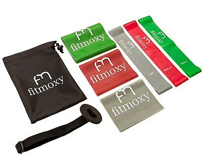 Complete Exercise Band Set - 3 Flat & 3 Loop Resistance Bands + Door Anchor +