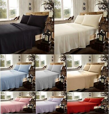 Luxury Flannel Flat Sheet 100% Brushed Cotton Flat Bed Sheet Single Double King