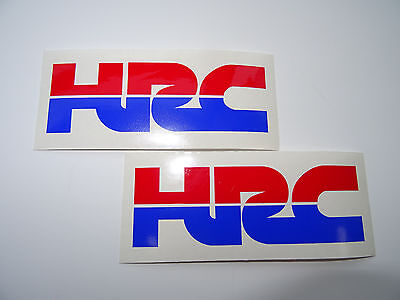 2 x HRC (HONDA RACING) Cut Text Vinyl DECALS - STICKERS - BADGES  (RED & BLUE)