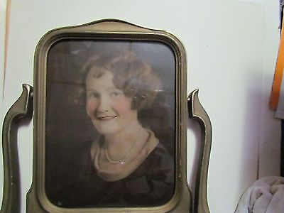Art Deco Antique Picture Frame On Stand Real Photo Brass Colored Wood