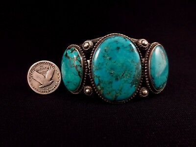 Navajo Bracelet - Coin Silver and Turquoise