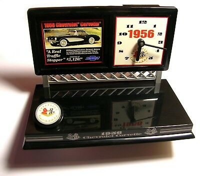 Rare Genuine Vintage New - Chevrolet Corvette 1956 Table Desk Set Clock 174084