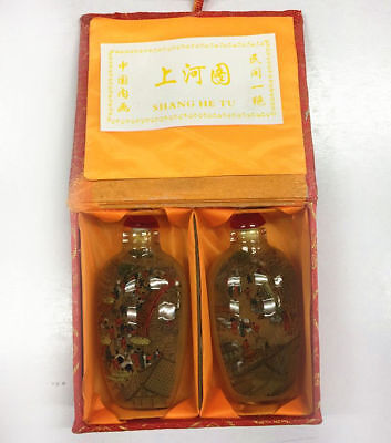 2PCS Rare Chinese People River inside Hand Painted Glass Snuff Bottle Beautiful