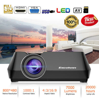 HD LED Wireless WIFI Smart Projector Portable Home Theater Movie HDMI USB 1080p