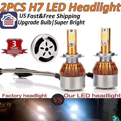 2XLED H7 CREE Car Headlight 220W Bulbs Lamps 6000K Kit Bright White Upgrade Bulb