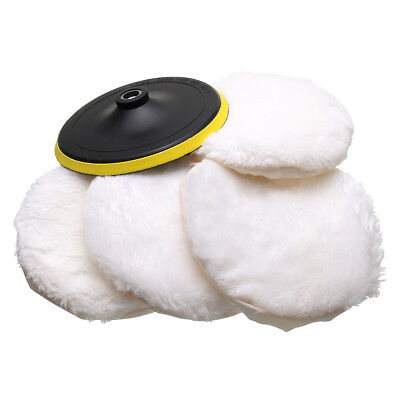 5Pcs Polisher/Buffer kit Soft Wool Bonnet Pad White U1T5