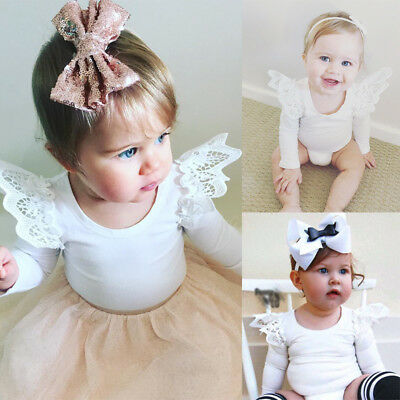 AU Newborn Infant Baby Clothes Girls Lace Floral Romper Jumpsuit Sunsuit Outfits