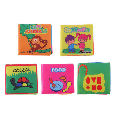 5 Set Baby Kids Intelligence Development Soft Cloth Cognize Books with Sound
