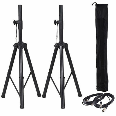 Pair of Tripod DJ PA Speaker Stands Adjustable Height Stand w/Carry Bag & Cables
