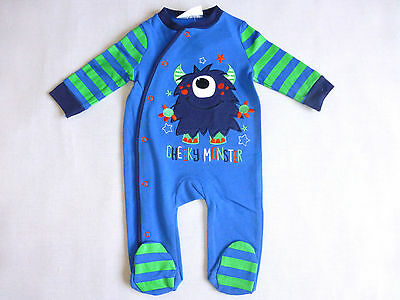 "Lily & Jack Boys Baybygrow Sleepsuit  0-9mth Blue ""cheeky monster"""