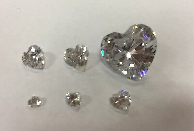 Cubic Zirconia Loose Stone HEART shape crystal gem clear  x1 x10 3-14mm PREMIUM