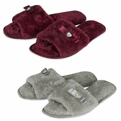 733bc61b403 Laides Womens Open Toe Slippers Memory Foam Slip On Flat Jewel Indoor Faux  Fur