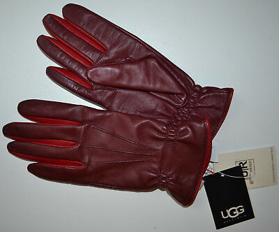 NWT $145 UGG Tech Cinched Cuff Leather Glove With Contrast Size M