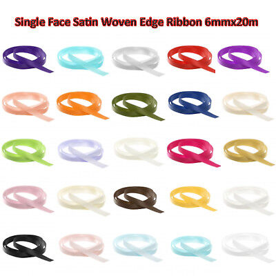6mm Single Face Satin Woven Edge Ribbon 20m Christmas Party Decoration Supplies