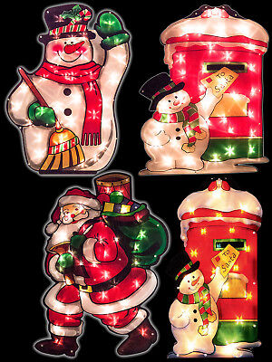35 Bulb Large Window Silhouette 60cm Light Up Decoration Christmas Indoor Santa