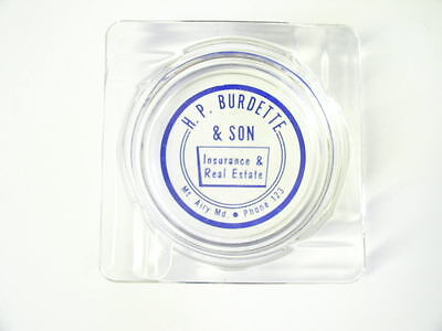 Vintage H. P. Burdette & Son Insurance Real Estate Mt. Airy Md Glass Ashtray