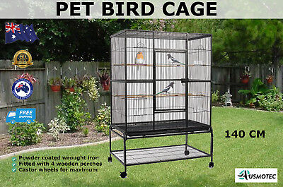 New Pet Bird Cage Parrot Aviary Pet Perch Stand Alone Castor Wheels Large 140cm