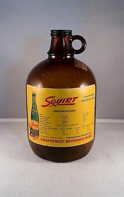 Vintage Squirt One Gallon Syrup amber glass jug. RARE TAX STAMP. COLLECTOR PIECE