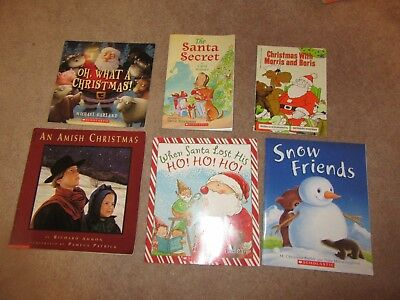 Lot of 6 Children Christmas Snow Winter Picture Books Amish Christmas HO Ho ho +