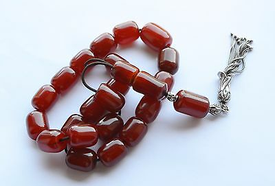 Antique Amber Faturan Red Cherry Bakelite Catalin, Worry Prayer Beads Tesbih