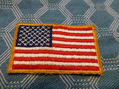 "Vintage American Flag Embroidered Patch 3 1/4 x 2"" RED WHT BLU & GOLD. 3350"