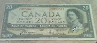 VINTAGE 1954 - $20 Canadian Dollars Paper Bill - The Devil in Queen's Hair