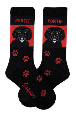 Portugese Water Dog Socks Lightweight Cotton Crew Stretch Egyptian Made