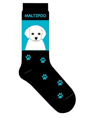 Maltipoo Socks Lightweight Cotton Crew Stretch Egyptian Made