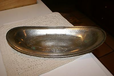 "VINTAGE OVAL hammered silver plated bread tray 13""x6"" HAS SOME TARNISH"
