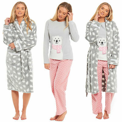 Ladies Womens Dressing Gown Pyjamas Polar Fleece Bath Robe Pjs Night