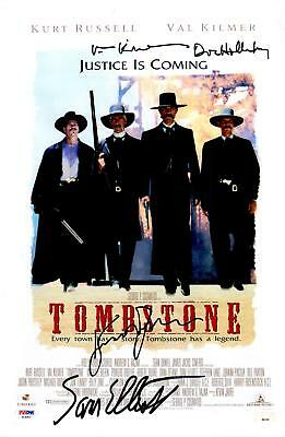 "Kurt Russell, Val Kilmer, & Sam Elliott Signed 12"" x 18"" Tombstone Movie Poster"