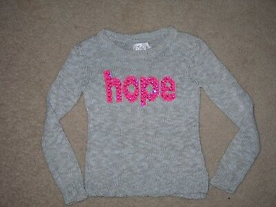 """Girls Size 8 JUSTICE Gray """"HOPE"""" Long Sleeve Sweater EUC"""